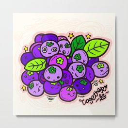 Team Blueberries (Coloured) Metal Print