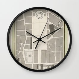 La Halle aux Bles Street Plan (ca 1810) by Pierre Franois Leonard Fontaine Wall Clock