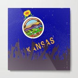 Kansas State Flag with Audience Metal Print