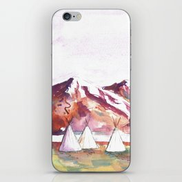 Three Jewels Watercolor Painting of Three Tipis iPhone Skin