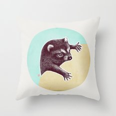 Climbing Raccoon Throw Pillow