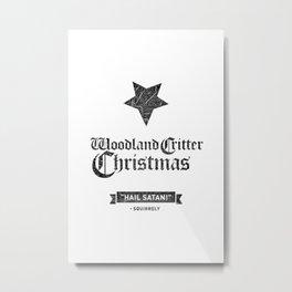 Woodland Critter Christmas Black Text Metal Print