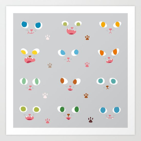 Cat Faces Art Print