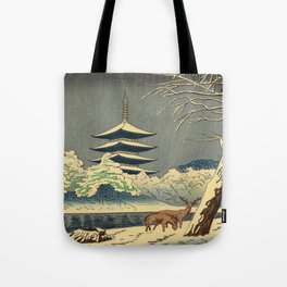 Asano Takeji Sarusawa Pond Japanese Woodblock print Winter Snow Landscape Pagoda With Deers Tote Bag