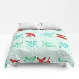 Red, Turquoise, and Jadeite Deer Comforters