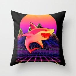 Vapor Wave Shark Throw Pillow