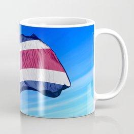 Costa Rica flag waving on the wind Coffee Mug