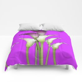 WHITE CALLA LILIES PURPLE VIOLET DECORATIVE ART Comforters