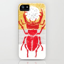 Red stag facing a golden sky iPhone Case