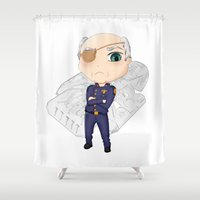 battlestar Shower Curtains featuring Colonel Tigh | Battlestar Galactica by The Minecrafteers