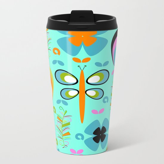 Dragonfly in the garden Metal Travel Mug