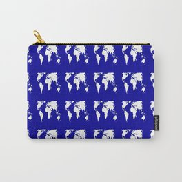 World map 3 blue Carry-All Pouch