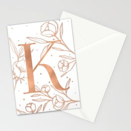 Letter K Rose Gold Monogram / Initial Botanical Illustration Stationery Cards