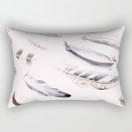 Cosmic Feathers Pink Dust Rectangular Pillow