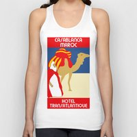 casablanca Tank Tops featuring Vintage style 1920s Casablanca travel advertising by aapshop