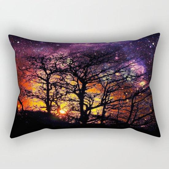 Black Trees Orange Purple Halloween Space Rectangular Pillow