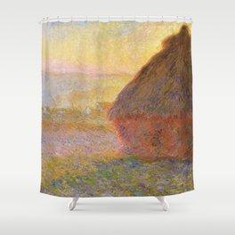 Haystacks, (Sunset) by Claude Monet Shower Curtain