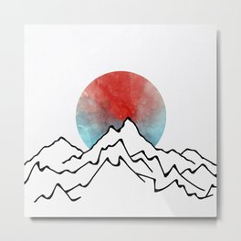 Red Sun Over The Mountains Metal Print