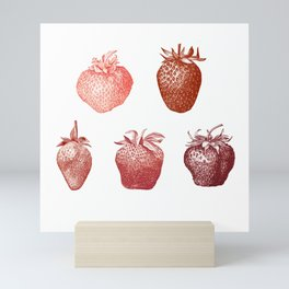 Red Strawberries Illustrations Mini Art Print