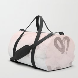 Rose Gold Hearts Marble Gradient Duffle Bag