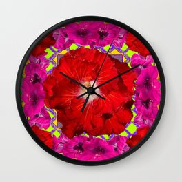 Tropical Red Hibiscus & Fuchsia Florals Green Color Wall Clock