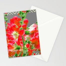 Charcoal Grey Saffrron Red Holly Hocks Pattern Flora Art Stationery Cards