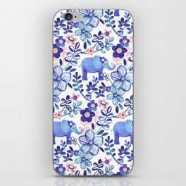 Pale Coral, White and Purple Elephant and Floral Watercolor Pattern iPhone Skin