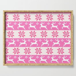 Watercolor Fair Isle in Pink Serving Tray