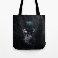 panther Tote Bags featuring PANTHER by FLUFFY REMAINS