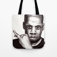 jay z Tote Bags featuring Jay by Daniel Hughes