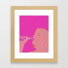 Pink blowjob Framed Art Print