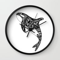 killer whale Wall Clocks featuring Killer Whale by Emma Barker