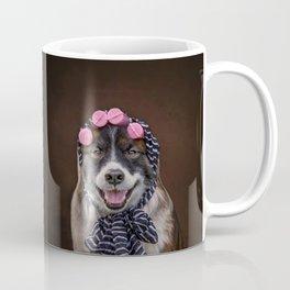 Dog in Pink Sponge Curlers Coffee Mug