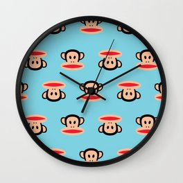 Julius Monkey Pattern by Paul Frank - Blue Wall Clock