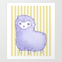 alpaca Art Prints featuring Alpaca by Nurt