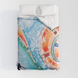 Wahine Surfing Big Rainbow Wave Comforters