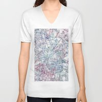 mexico V-neck T-shirts featuring Mexico map by MapMapMaps.Watercolors