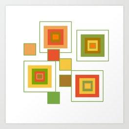 Retro Minimalist Square Design Art Print