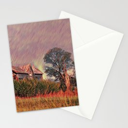 Grass fire at old farm Stationery Cards