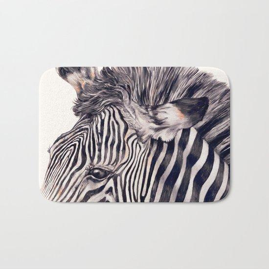 Zebra Cream Bath Mat