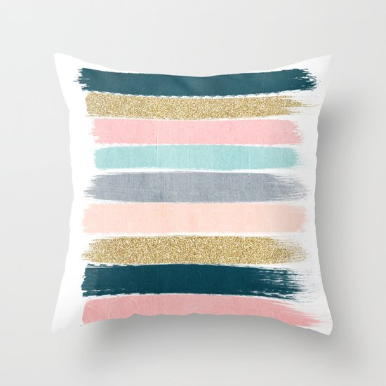 Zara - minimal gold navy pink pastel stripes painterly boho decor trendy gifts Throw Pillow by ...