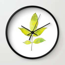 leaves painted with watercolor . designer paintings for eco-style . eco style interior . Sustainable Wall Clock