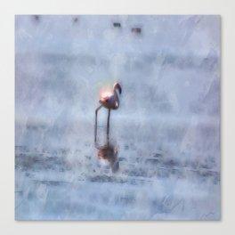 Solitary Flamingo Watercolor Canvas Print
