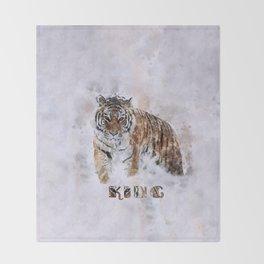KING watercolor Siberian Tiger Throw Blanket