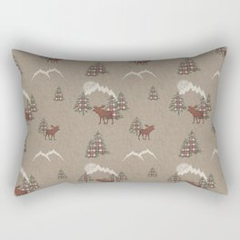 Moose and Mountains Pattern Rectangular Pillow