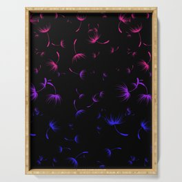 Dandelion Seeds Bisexual Pride (black background) Serving Tray