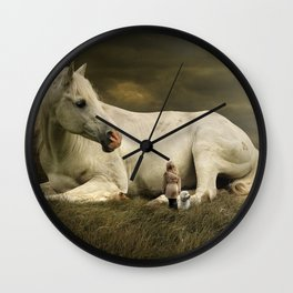 Fascinating Fantasy Little Girl And Dog Making Acquaintance With Giant White Horse Wall Clock