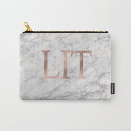 LIT rose gold on marble Carry-All Pouch