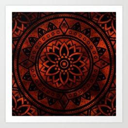 Burnt Orange & Black Patterned Flower Mandala Art Print