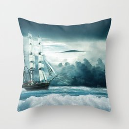 Blue Ocean Ship Storm Clouds Throw Pillow